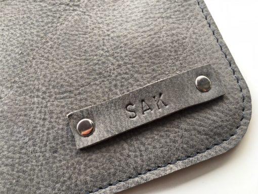 Sak, detail, grijs , leer, studs