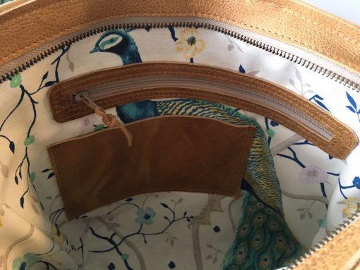milou, handgemaakte tas, leer, sak , crossbody, handtas , camel, studs