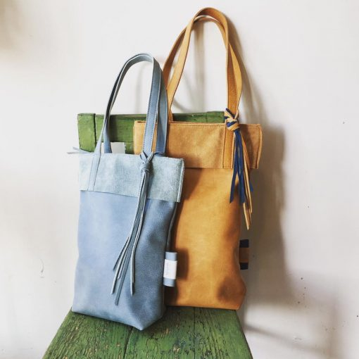 isis ,small, medium ,camel shopper , blauw ,leer