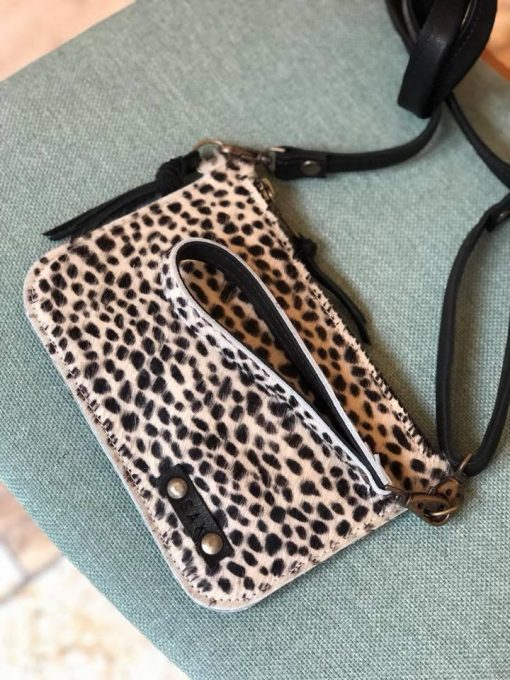 panter cross body , small bag tess, luipaard, leer