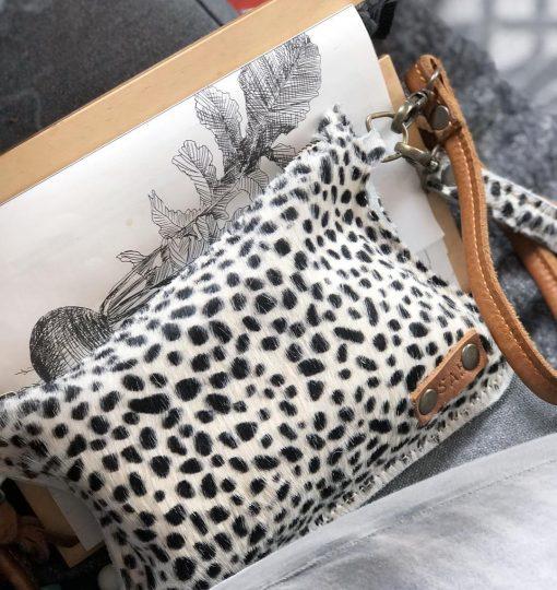 panter cross body , small bag tess, luipaard, leer